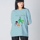花くまゆうさくの背後にカマキリ Big silhouette long sleeve T-shirts