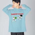 花くまゆうさくのサマー空手 Big silhouette long sleeve T-shirts