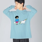 花くまゆうさくのユニコーンと散歩 Big silhouette long sleeve T-shirts