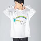 花くまゆうさくのユニコーン虹の出し方1 Big silhouette long sleeve T-shirts