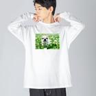 akane_artのカラフルチワワ(クローバー) Big silhouette long sleeve T-shirts