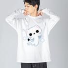 MicaPix/SUZURI店のラッキー雪おこじょ Big Long Sleeve T-shirt