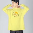 ふわふわ色emiのハッピーちゃん Big silhouette long sleeve T-shirts