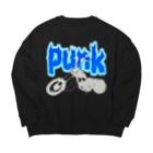 【12moonMonstarZ】トゥエルブムーンモンスターズのパンク&バイク  灰色×青 Big silhouette sweats