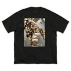 気まぐれニンニクの薪 Big silhouette T-shirts