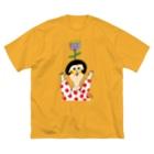 Claraのおみせのあたまにお花 Big silhouette T-shirts