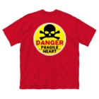 PB.DesignsのFRAGILE HEART -yellow-  Big silhouette T-shirts