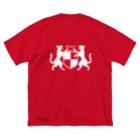 無真獣73号の吼える猫の紋章服・暗色向け Big silhouette T-shirts