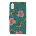 ムギギギのお花と虎ちゃん(緑) Book-style smartphone caseの裏面