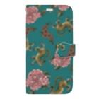 ムギギギのお花と虎ちゃん(緑) Book-style smartphone case