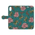ムギギギのお花と虎ちゃん(緑) Book-style smartphone caseを開いた場合(外側)
