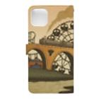 マキバドリの蒸気機関車と遊園地(イエローオレンジ) Book-style smartphone caseの裏面
