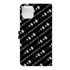 yu _nazo@謎解きと宇宙好きの謎解き風柄スマホケース(黒) Book-style smartphone caseの裏面