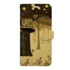 マキバドリの絵本の中のウサギとツリーハウス Book-style smartphone case