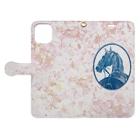 馬の絵の画家 斉藤いつみのサラブレッドの肖像画(ピンク) Book-style smartphone caseを開いた場合(外側)