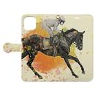 馬の絵の画家 斉藤いつみの駆ける馬 Book-style smartphone caseを開いた場合(外側)