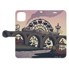 マキバドリの蒸気機関車と遊園地(ピンクパープル) Book-style smartphone caseを開いた場合(外側)