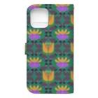 mint julepのウマとネコとナスとハナ(緑) Book-style smartphone caseの裏面