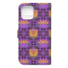 mint julepのウマとネコとナスとハナ(紫) Book-style smartphone caseの裏面