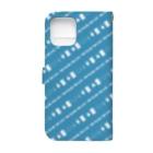 謎と宇宙好きの店の謎解き風柄スマホケース(青) Book-style smartphone caseの裏面