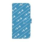 謎と宇宙好きの店の謎解き風柄スマホケース(青) Book-style smartphone case
