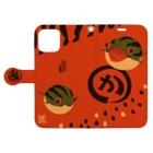 花日和 畳のすいかえる 丸か Book-style smartphone caseを開いた場合(外側)