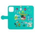 すとろべりーガムFactoryのドットSummer No.2 手帳型スマホケース (ミント) Book-Style Smartphone Caseを開いた場合(外側)
