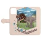 すとろべりーガムFactoryのティラノサウルス 手帳型スマホケース (薄いピンク) Book-Style Smartphone Caseを開いた場合(外側)