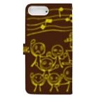 ウサネコのホラー♪ダンサー 茶と黄 Book-Style Smartphone Caseの裏面