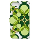rioka24ki10のグリーン 丸 模様 Book-style smartphone caseの裏面