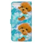 NORIMA'S SHOP のかわいいトイプードルの子犬と夢かわいい雲のイラスト Book-style smartphone caseの裏面