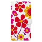 dandyism-neco.com goodsの大きな花柄手帳スマホケース Book-style smartphone case