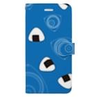 竹脇モータース2号店の回れ焼きおにぎり 青色 Book-style smartphone case