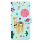 yminaminのアルパカウオレットケース水色 Book-style smartphone case