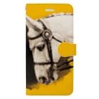 馬の絵の画家 斉藤いつみのゴージャス馬場馬(イエロー) Book-style smartphone case