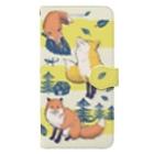 マキバドリのキツネの森 Book-style smartphone case