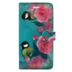 NORIMA'S SHOP の薔薇とシジュウカラと唐草模様のガーリーイラスト Book-style smartphone case