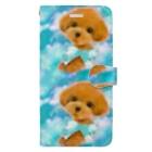 NORIMA'S SHOP のかわいいトイプードルの子犬と夢かわいい雲のイラスト Book-style smartphone case