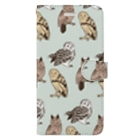 ななめやの三羽フクロウ Book-style smartphone case