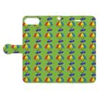 ポメ村ポメラニアンのパラシュートウミウシさん グリーン Book-style smartphone caseを開いた場合(外側)