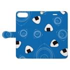 竹脇モータース2号店の回れ焼きおにぎり 青色 Book-style smartphone caseを開いた場合(外側)