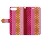 orange_honeyのストライプと水玉 4 Book-style smartphone caseを開いた場合(外側)