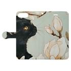 おちょぴの白木蓮と黒猫 Book-style smartphone caseを開いた場合(外側)