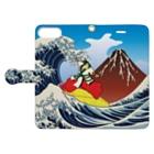 Drecome_Designの 紅富士波乗写楽 Book-style smartphone caseを開いた場合(外側)