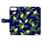 菜っぱの青と檸檬 Book-style smartphone caseを開いた場合(外側)