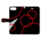 nyoroの赤い波紋のスマホケース Book-style smartphone caseを開いた場合(外側)