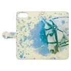 馬の絵の画家 斉藤いつみのゴージャス馬場馬(ブルー) Book-style smartphone caseを開いた場合(外側)