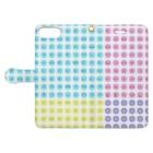 LalaHangeulのハングルスマホケース ドット ~白地パステル~ Book-style smartphone caseを開いた場合(外側)
