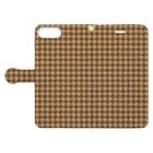 TinyMiry(タイニーミリー)の千鳥格子(テーマ:コーヒークッキー) Book-style smartphone caseを開いた場合(外側)