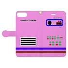 サムライデザインウォレットフォンケースのレトロメカ×ピンク Book-style smartphone caseを開いた場合(外側)